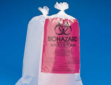 BIOHAZARD bags for autoclaves 61x91 cm, w. imprint (100/pack)